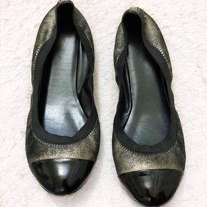 Cole Haan Metallic and Black Ballet Flats